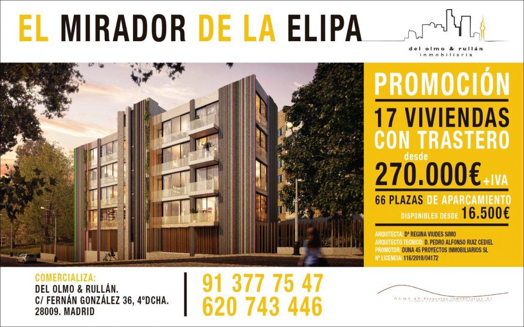 """""""EL MIRADOR DE LA ELIPA"""". Promoción de 17 viviendas de obra nueva y 66 plazas de garaje en La Elipa (Calle Santa Irene 5)."""